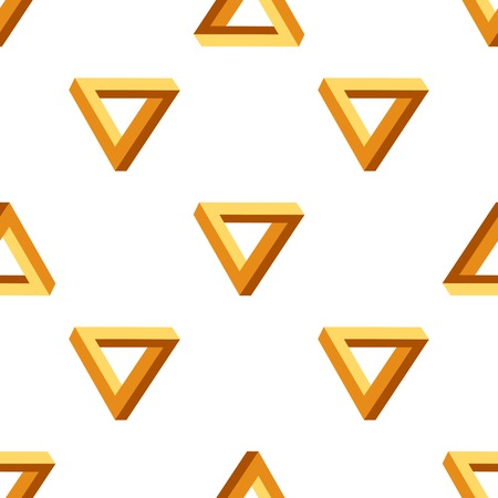 psychical: Seamless Triangles Pattern. Impossible Orange Triangle Background