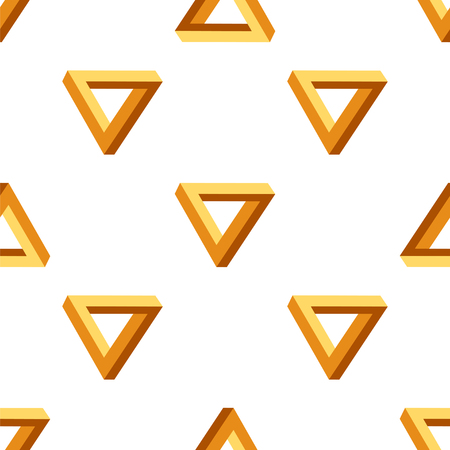 psychical: Vector Seamless Triangles Pattern. Impossible Orange Triangle Background
