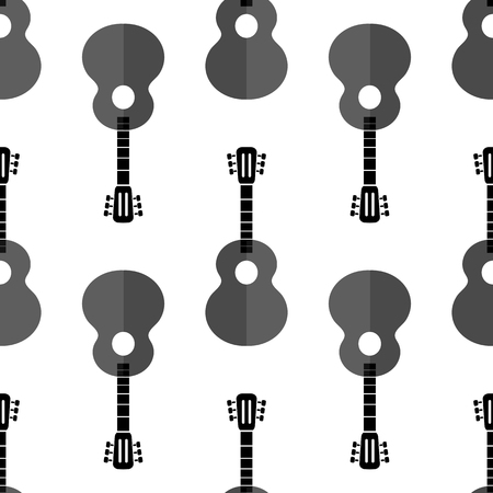 frets: Guitar Silhouette Seamless Background. Musical Instrument Pattern