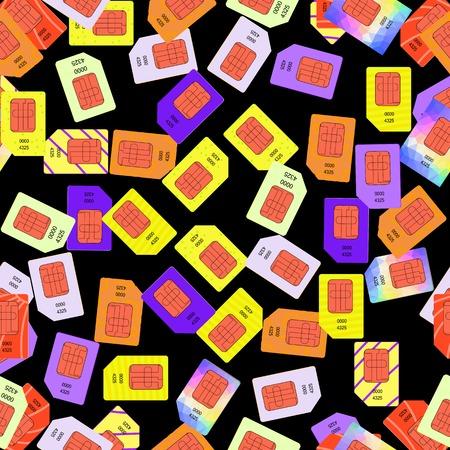 cdma: SIM Cards Seamless Pattern on Black Background.
