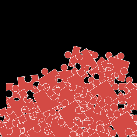 puzzle background: Set of Red Puzzle  on Black Background.  Jigsaw Pattern Illustration