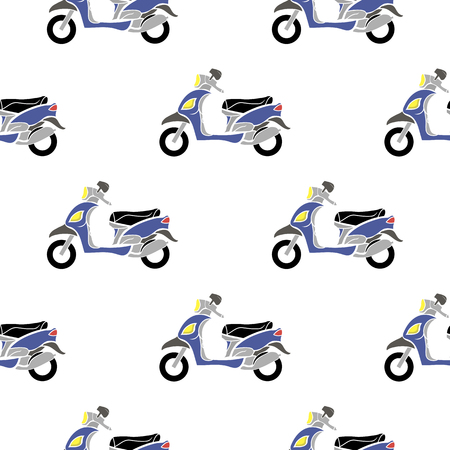 Blue Scooters Isolated on White Background. Seamless Minibike Pattern Illustration