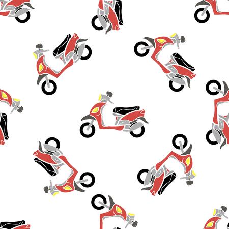 Rode Scooters Geïsoleerd op witte achtergrond. Naadloos Bike Patroon