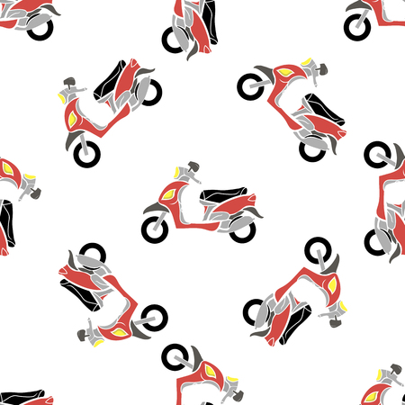 Red Scooters Isolated on White Background. Seamless Bike Pattern