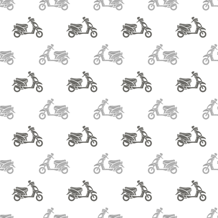 Grey Scooters Isolated on White Background. Seamless Scooter Pattern Illustration