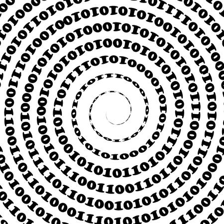 Binary Code Background. Numbers Concept. Algorithm, Data Code, Decryption and Encoding Ilustração Vetorial