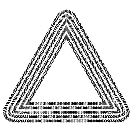 decryption: Binary Code Triangle. Numbers Concept. Algorithm, Data Code, Decryption and Encoding