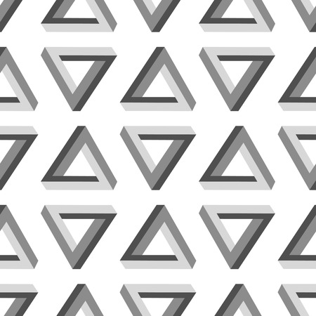 myst: Seamless Triangles Pattern. Impossible Grey Triangle Background Stock Photo