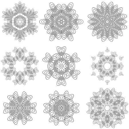 escarapelas: Conjunto de rosetones aislados sobre fondo blanco