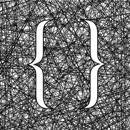 bracket: Curly Bracket Icon on Ink Grunge Background Illustration