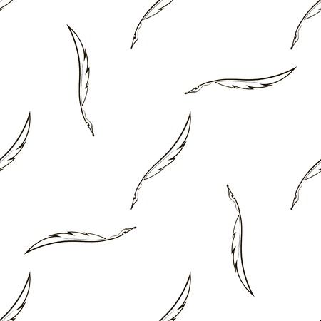 scribe: Set of Feathers Isolated on White Background. Seamless Feather Pattern