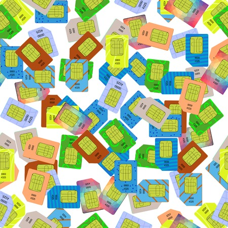 gsm phone: SIM Cards Seamless Pattern on White Background.