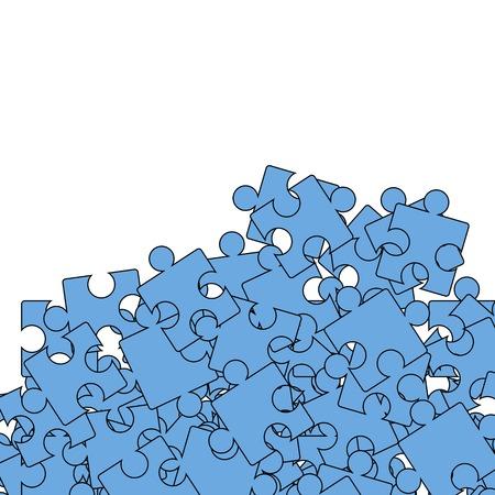 jigsaw set: Set of Blue Pazzle on White Background. Jigsaw Pattern