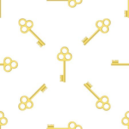 gold key: Yellow Keys Isolated on White Background. Seamless Gold Key Pattern