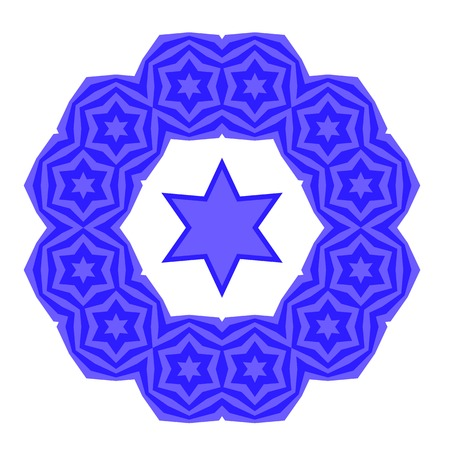 Blue David Star Isolated on White Background. Jewish Symbol of Religion