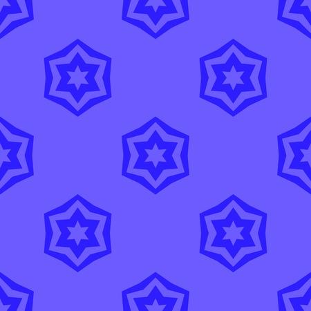 Seamless Blue Geometric David Star Background. Ornamental Blue Pattern