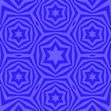 Geometric David Star Background. Ornamental Blue Pattern
