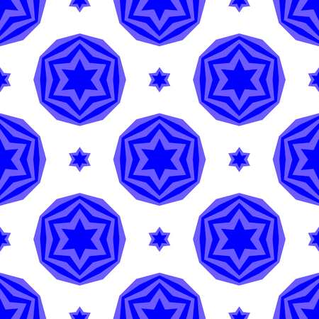 hanuka: Blue David Star  Seamless Background. Jewish Symbol of Religion