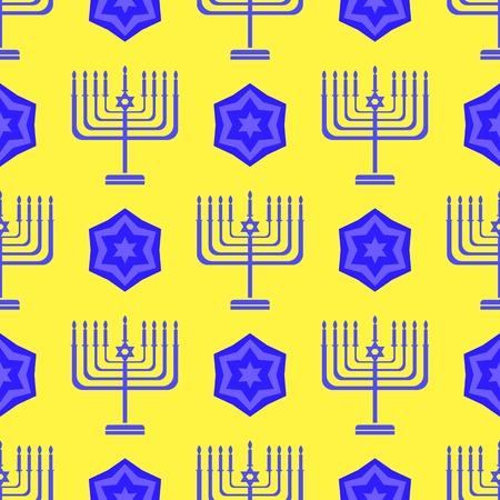 jewish star: Blue David Star  Seamless Background. Menorah Jewish Symbol of Religion