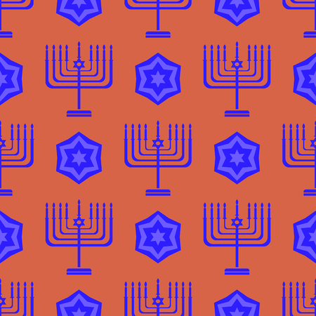 hannukah: Blue David Star  Seamless Background. Menorah Jewish Symbol of Religion