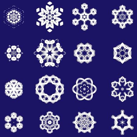 snoflake: Set of Different  Ornamental Rosettes Isolated on Blue Background Illustration