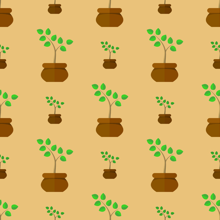 germinate: Flower Pot Seamless Pattern. Floral Natural Background