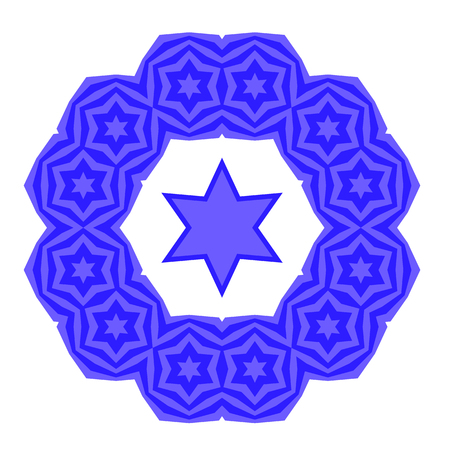 Blue David Star Isolated on White Background. Jewish Symbol of Religion