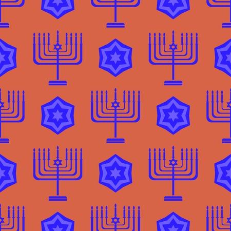 shalom: Blue David Star Seamless Background. Menorah Jewish Symbol of Religion