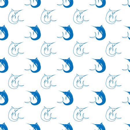 marline: Set of Fish Isolated on White Background. Marlin Seamless Pattern Stock Photo