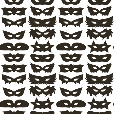 masquerade masks: Silhouette of Masks Seamless Pattern. Symbol of Masquerade Stock Photo