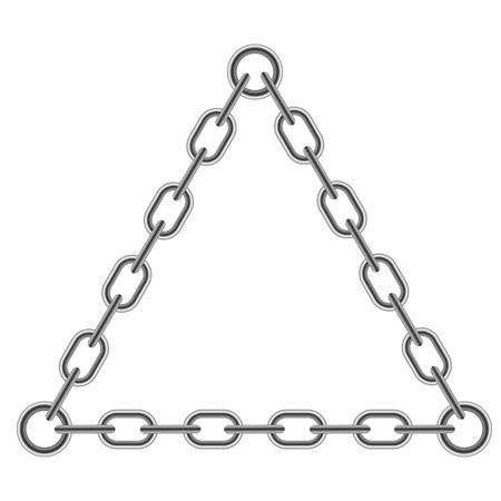 interlink: Chain Triangle Frame Isolated on White Background Illustration