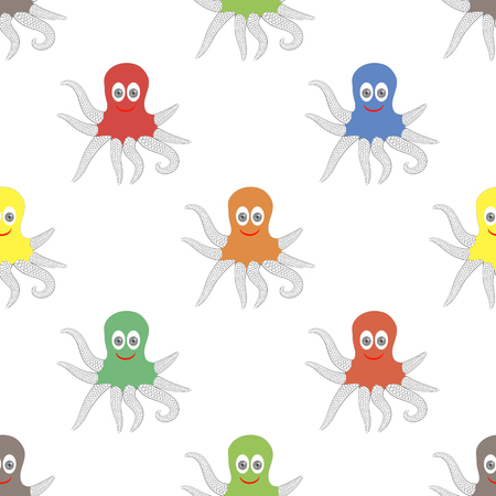 feeler: Octipus Animal Seamless Pattern. Colorful Octopus Isolated on White Background