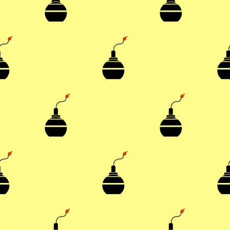 detonating fuse: Bomb Silhouettes Seamless Pattern. Military Weapon Background