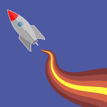 Space Rocket Flying on Blue Sky Background