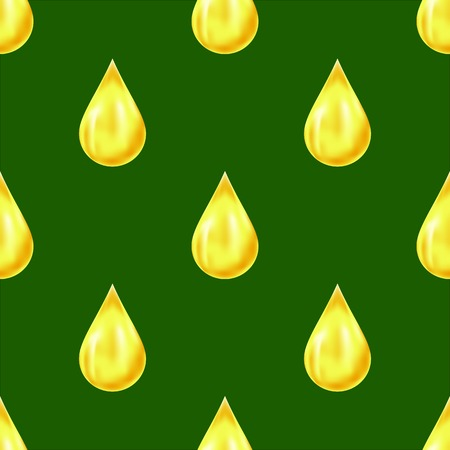 Yellow Drops Isolated on Green Background. Seamless Pattern Stock Photo