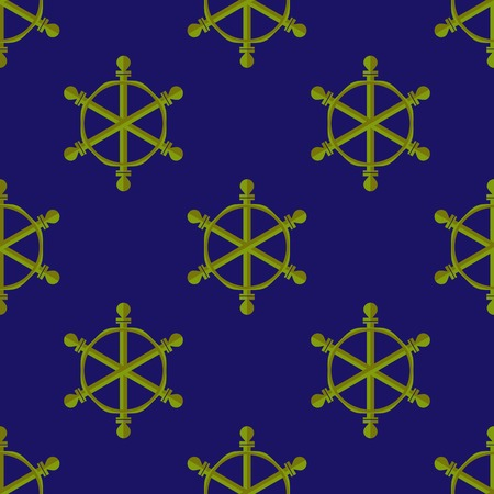 ship steering wheel: Marine Seamless Pattern. Ship Steering Wheel Background