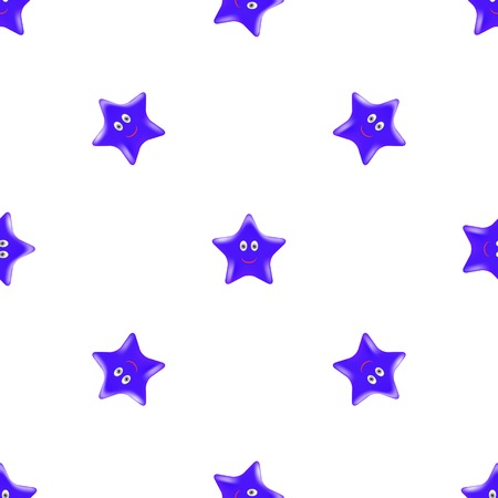 blue smiling: Blue Star Seamless Pattern. Smiling Star Isolated on White Background