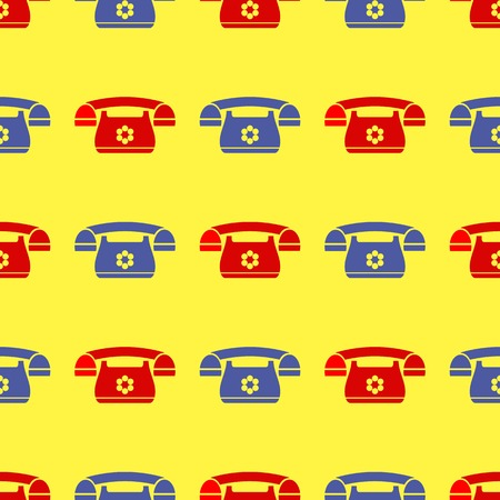 old telephone: Seamless Retro Red Blue Phone Pattern. Silhouette of Old Telephone