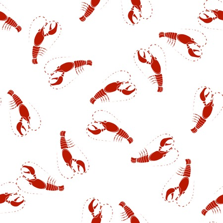 omar: Sea Food Background. Red Omar Seamless Pattern