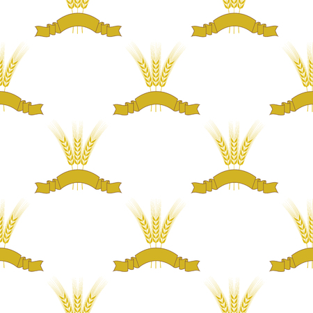 Wheats Ribbon Seamless Pattern. Beer Icons Isolated. Illustration