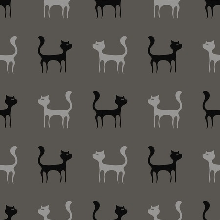 pussy hair: Black Grey Cats Seamless Pattern. Animal Pets Silhouettes  Background.