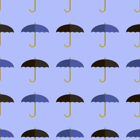 imposition: Black Blue Umbrella Seamless Pattern. Umbrellas Background Illustration