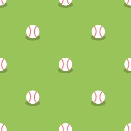 fastball: Baseball Seamless Pattern. Sport Background. Balls Isolated on Green Background. Illustration