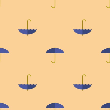 imposition: Blue Umbrella Seamless Pattern. Autumn Umbrellas Background Illustration
