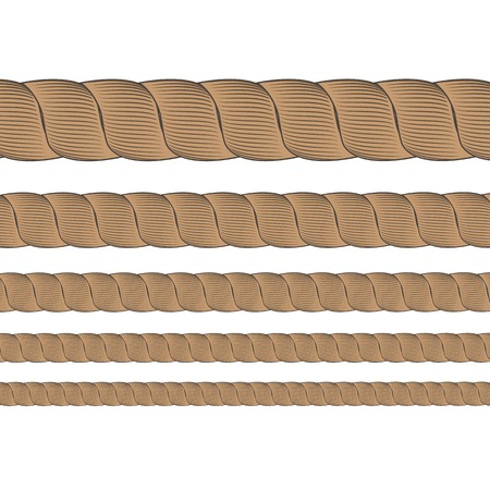 cabling: Set of Metal Cables Isolated on White Background