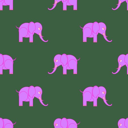 Big Pink Elephant Seamless Pattern. Zoo Animal Background. Illustration