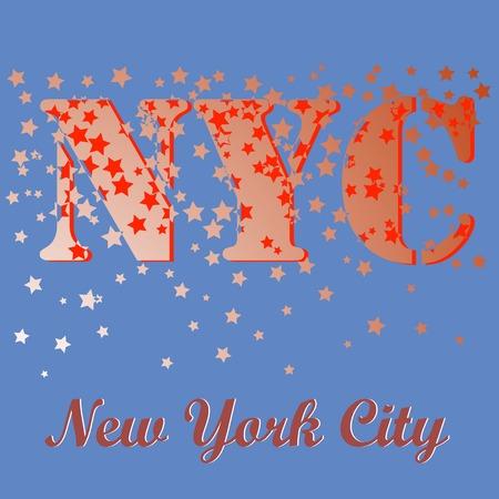 New York T-shirt Emblem.Print Typography. Retro Label. Vintage Sport Pattern. Starry Basketball Logo on Blue Background