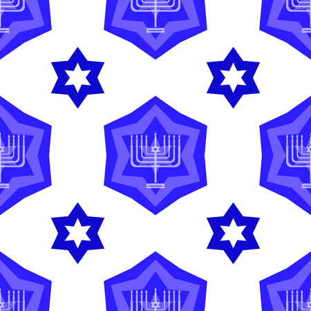 hannukah: Blue David Star  Seamless Background. Menorah Jewish Symbol of Religion