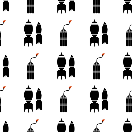 detonating dynamite: Bomb Silhouettes Seamless Pattern. Military Weapon Background