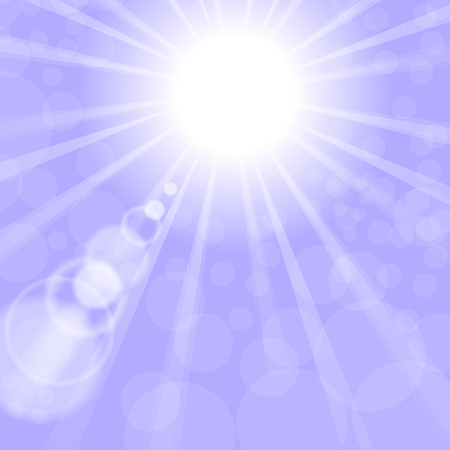 blinding: Abstract Sun Background. Blue Summer Pattern. Bright Background with Sunshine. SunBurst with Flare and Lens.